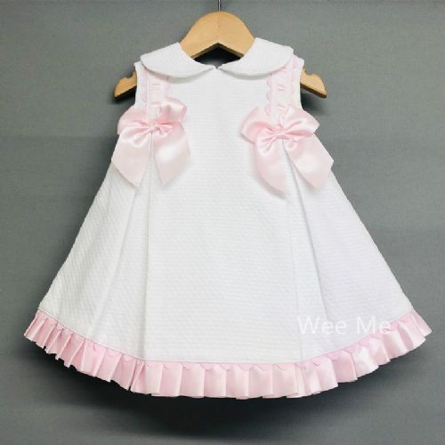 Beautiful Wee Me Baby Girl Spanish Dress Pink Bow Ribbon Trim